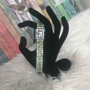 """Suzanne Somers Watch White and Green Crystals 7"""""""